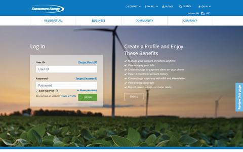 Screenshot of Login Page consumersenergy.com - Login | Consumers Energy - captured June 3, 2019