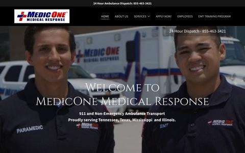 Screenshot of Home Page medicone.us - MedicOne Medical Response Careers - captured March 20, 2019