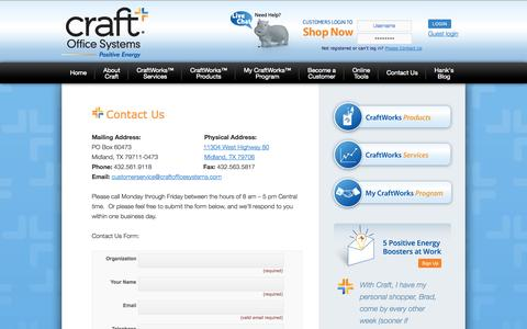 Screenshot of Contact Page craftofficesystems.com - Contact Us | Craft Office Systems | Midland, TX | Craft Office Systems - captured Sept. 30, 2014