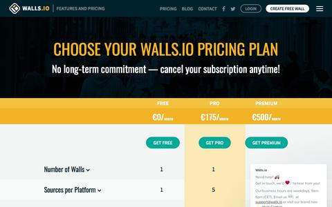 Screenshot of Pricing Page walls.io - Features & Pricing — Walls.io - captured April 27, 2017