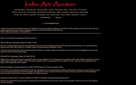 Screenshot of Testimonials Page india-art-auction.com - Guest Log - captured April 10, 2017