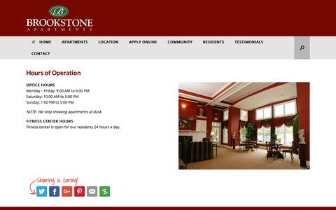 Screenshot of Hours Page brookstoneapartments.com - Hours of Operation – Brookstone Apartments - captured Dec. 4, 2018
