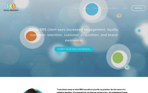 Screenshot of Testimonials Page sr-strategies.com - Testimonials — Social Research Strategies - captured Oct. 7, 2014