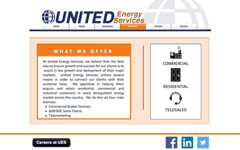 Screenshot of Services Page unitedenergyservices.com - UES Services - captured Nov. 12, 2017