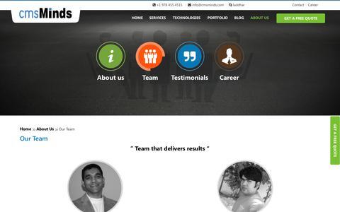 Screenshot of Team Page cmsminds.com - Our Team - captured July 9, 2018
