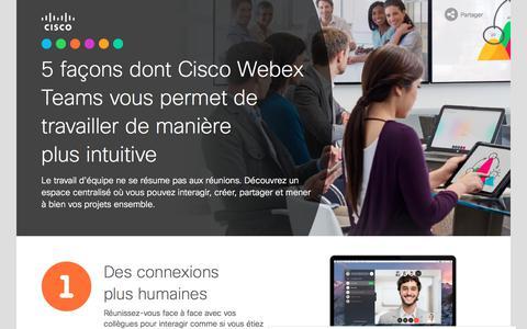 Screenshot of Landing Page cisco.com - 5façons dont Cisco Webex Teams vous permet de travailler de manière plus intuitive - captured Sept. 19, 2018
