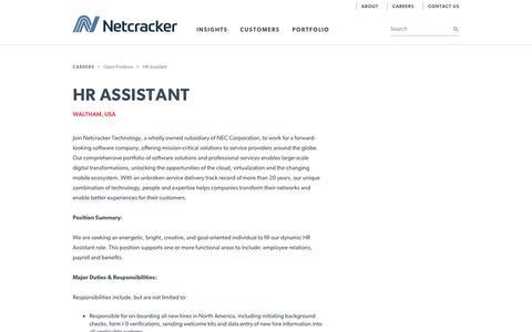 Screenshot of Jobs Page netcracker.com - Netcracker - HR Assistant - captured March 25, 2018