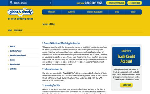Screenshot of Terms Page gibbsanddandy.com - Terms of Use | Builders Merchants | Gibbs & Dandy - captured Oct. 2, 2014