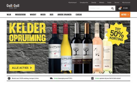 Screenshot of Home Page gall.nl - Online drank bestellen: wijn, whisky, bier en sterk | Gall & Gall - captured Aug. 14, 2019