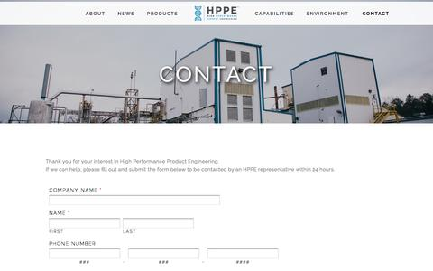 Screenshot of Contact Page hppeco.com - Contact — High Performance Product Engineering - captured Oct. 12, 2016