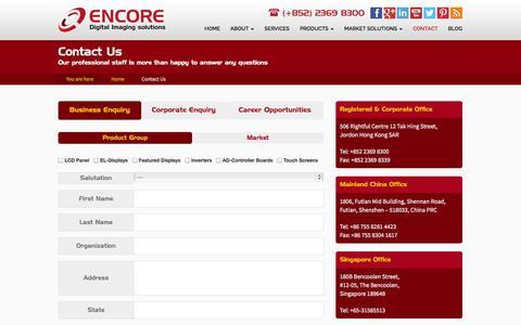 Screenshot of Contact Page encore-electronic.com - Contact Us - Encore Electronic Engineering - captured Oct. 31, 2014