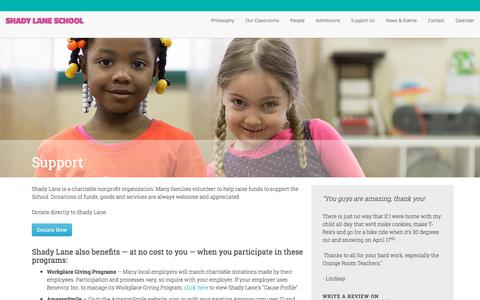 Screenshot of Support Page shadylane.org - The Shady Lane School - captured Sept. 20, 2018