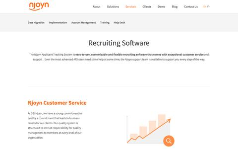 Screenshot of Services Page njoyn.com - Recruiting Software - Njoyn Applicant Tracking System | Njoyn - captured Aug. 22, 2016