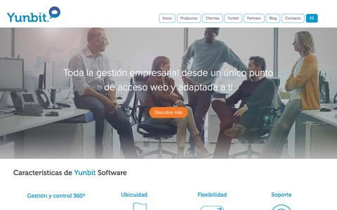 Screenshot of Home Page yunbit.es - Software de gestión empresarial cloud  | Yunbit - captured July 11, 2016