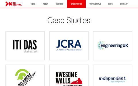 Screenshot of Case Studies Page dxdigital.co.uk - Case Studies | DX Digital Ltd - captured Feb. 8, 2016