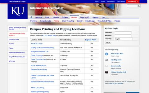 Screenshot of Locations Page ku.edu - Campus Printing and Copying Locations | Information Technology - captured Sept. 18, 2014