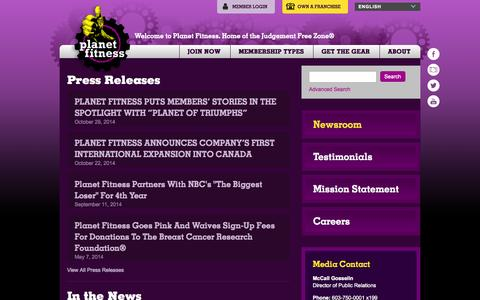 Screenshot of Press Page planetfitness.com - Recent News | Planet Fitness - captured Oct. 29, 2014