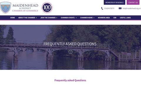 Screenshot of FAQ Page maidenhead.org.uk - Frequently Asked Questions - Business Advice, Maidenhead - captured Nov. 12, 2018