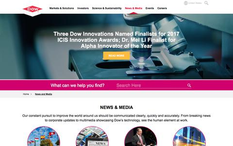Screenshot of Press Page dow.com - News and Media | Dow - captured Sept. 27, 2017
