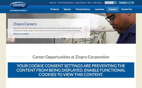 Screenshot of Jobs Page zinpro.com - Zinpro Careers | Zinpro Performance Minerals | Zinpro Corporation - captured Oct. 2, 2019