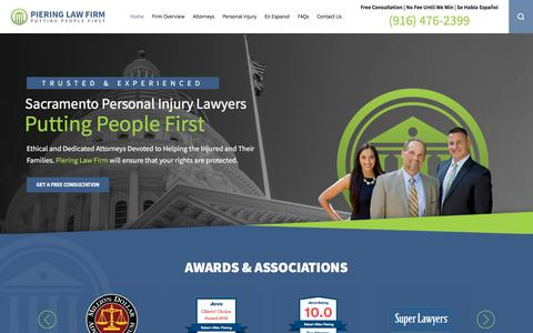 Screenshot of Home Page pieringlawfirm.com - Sacramento Personal Injury Lawyers | Piering Law Firm - captured July 18, 2018