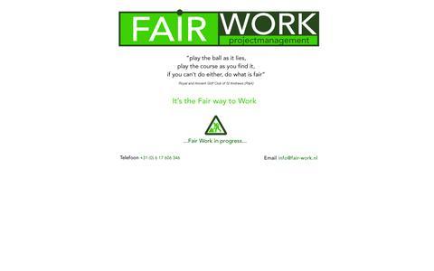 Screenshot of Home Page fair-work.nl - Fair Work - captured Sept. 30, 2014
