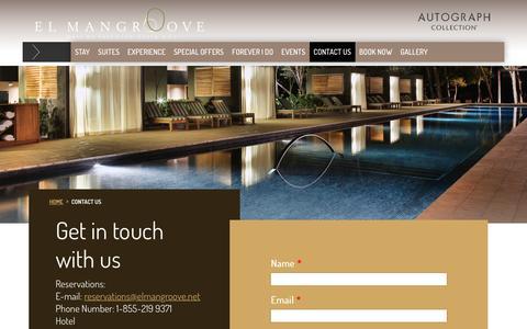 Screenshot of Contact Page elmangroove.net - Get in Touch with El Mangrooce Hotel | Costa Rica Luxury Resort - captured Feb. 24, 2016