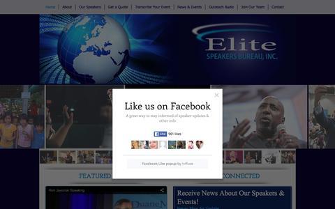 Screenshot of Home Page theelitespeakersbureau.com - The Elite Speakers Bureau, Inc. - Professional Keynote Speakers - captured Feb. 28, 2016