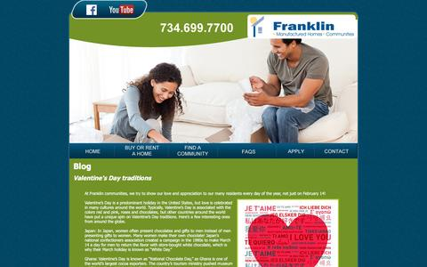 Screenshot of Blog franklinhomesales.com - Blog Posts about Manufactured Home Living in Michigan| Franklin Manufactured Homes - captured March 11, 2016