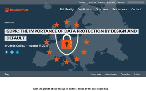 Screenshot of Privacy Page beyondtrust.com - GDPR: The Importance of Data Protection by Design and Default | BeyondTrust - captured Dec. 14, 2019