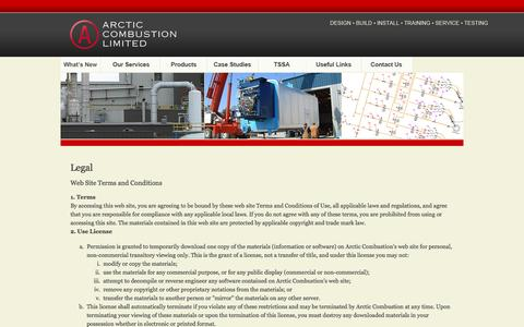 Screenshot of Terms Page arctic-combustion.com - Arctic Combustion Limited - Legal - captured Feb. 6, 2016