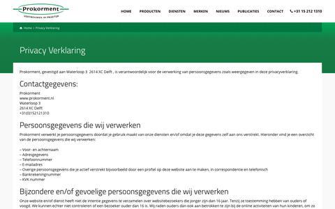 Screenshot of Privacy Page prokorment.nl - Privacy Verklaring - Prokorment – vertrouwen in praktijk - captured July 24, 2018