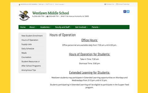Screenshot of Hours Page huntsvillecityschools.org - Hours of Operation | Westlawn Middle | Huntsville City Schools - captured Jan. 4, 2017