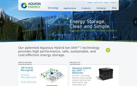 Screenshot of Home Page aquionenergy.com - Energy storage products. Clean and simple. | Aquion Energy - captured July 12, 2014