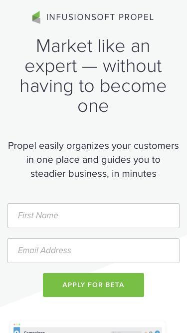 Infusionsoft Propel - Beta Signup | Infusionsoft
