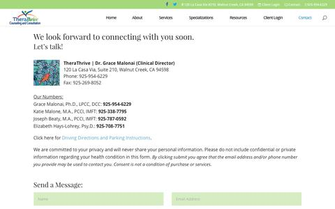 Screenshot of Contact Page therathrive.com - Contact - TheraThrive Gifted Counseling | Walnut Creek, CA - captured June 17, 2017