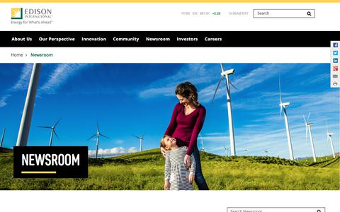Screenshot of Press Page edison.com - Newsroom | Edison International - captured Sept. 20, 2018