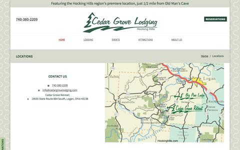 Screenshot of Contact Page Locations Page cedargrovelodging.com - Cedar Grove Lodging: Locations - captured Oct. 26, 2014