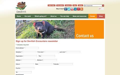 Screenshot of Signup Page devilark.com.au - Sign up for Devilish Encounters newsletter - captured Sept. 30, 2014