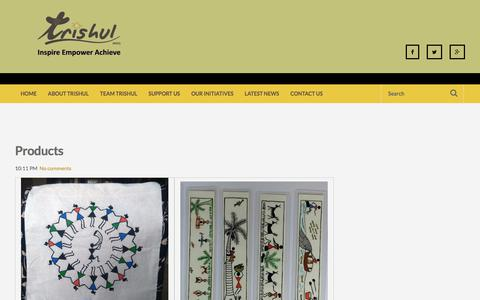 Screenshot of Products Page trishul-ngo.org - Products ~ Trishul, (Non-Government Organisation) - India - captured Nov. 10, 2017