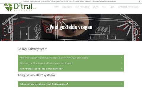Screenshot of FAQ Page dtral.com - Alarmsysteem, camerabewaking, toegangscontrole, branddetectiesysteem, antwoord op uw vragen - Alarminstallateur Antwerpen D'tral beveiliging uw veiligheid is onze zorg - captured Nov. 16, 2016