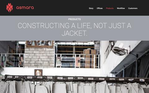 Screenshot of Products Page asmarainternational.com - Constructing a life, not just a jacket.   Asmara International Limited - captured Nov. 3, 2018