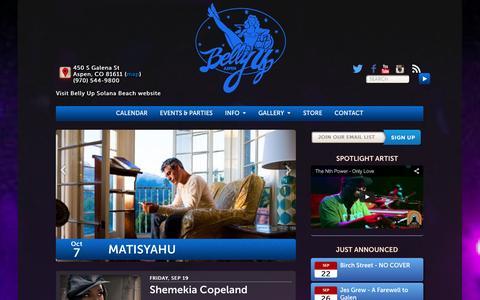 Screenshot of Home Page bellyupaspen.com - Live Music & Events Venue in Aspen, CO - Belly Up Aspen - captured Sept. 19, 2014