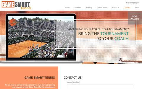 Screenshot of Contact Page gamesmarttennis.com - Contact - Game Smart Tennis - captured Dec. 7, 2015