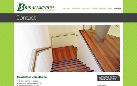 Screenshot of Contact Page brisaluminium.com.au - Contact | Bris Aluminium | Office Partitioning Brisbane - captured Sept. 30, 2014