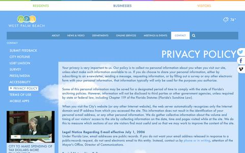 Screenshot of Privacy Page wpb.org - WPB | City of West Palm Beach Contact Us - captured May 21, 2016