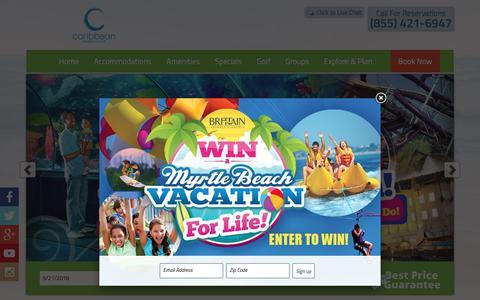 Screenshot of Home Page caribbeanresort.com - Myrtle Beach Hotel   Caribbean Resort in Myrtle Beach, SC - captured Sept. 22, 2018