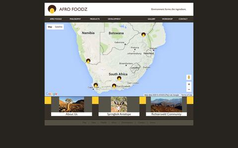 Screenshot of Maps & Directions Page afrofoodz.com - AFRO FOODZ | Sustainable food ingredients from Sub-Saharan Africa | OUR LOCATIONS ON THE MAP - captured July 23, 2016