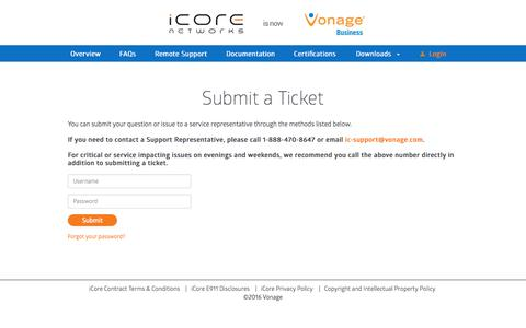 Screenshot of Login Page icore.com - Customer Service - Help & Support Center | iCore Networks - captured Sept. 16, 2016