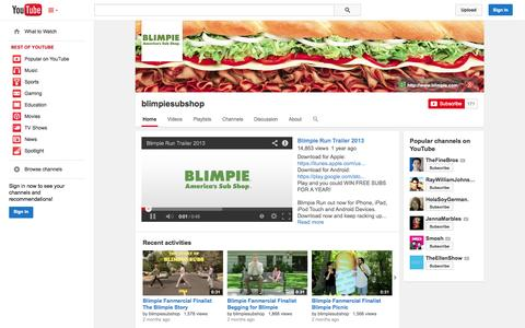 Screenshot of YouTube Page youtube.com - blimpiesubshop  - YouTube - captured Oct. 23, 2014
